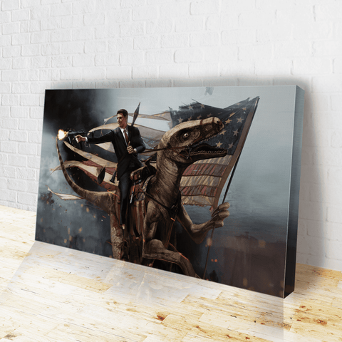 Ronald Reagan: Velociraptor Canvas