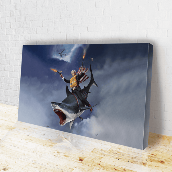 Cowboy Dubya - The Shark Rider Canvas