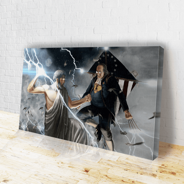 Ben Franklin Vs. Zeus Canvas