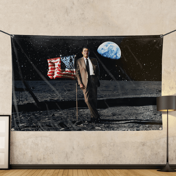 Reagan On The Moon - Wall Flag