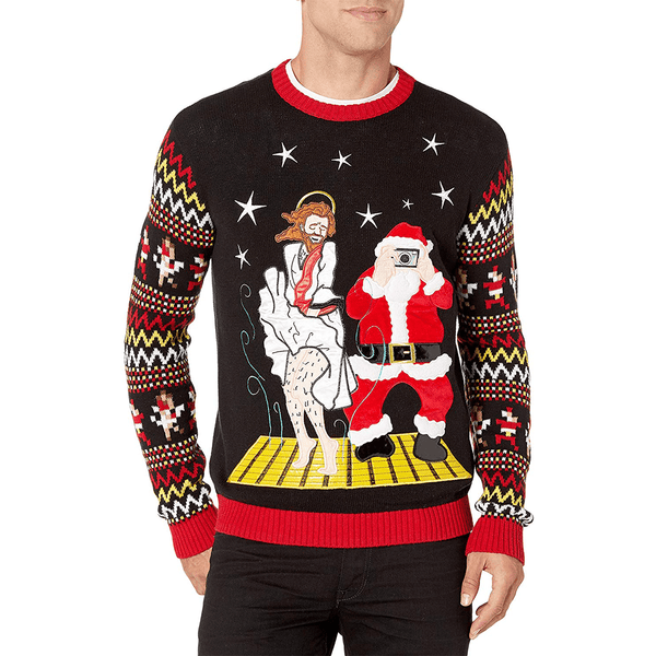 Santa & Jesus Dance Party Ugly Christmas Sweater