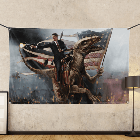 Ronald Reagan - Velociraptor - Wall Flag