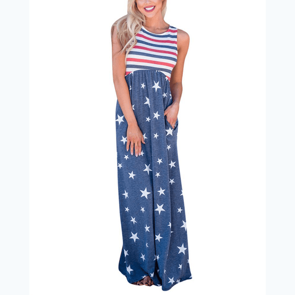 USA Flag Design Loose Sundress