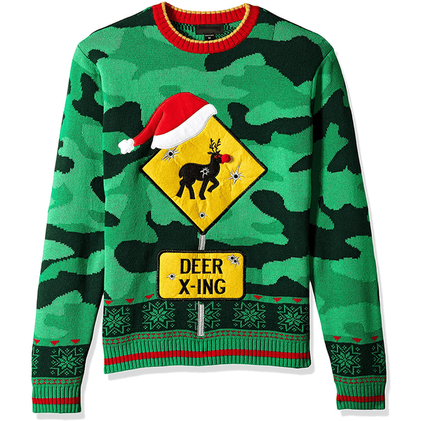 Deer X-ing Ugly Christmas Sweater