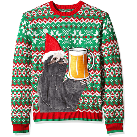 Men's Sloth Beer Pocket Ugly Christmas Sweater