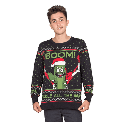 Men's Boom! Pickle Rick Ugly Christmas Sweater