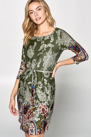 Sassy Paisley Dress with Waist Tie