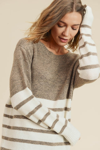 Striped Color-block Sweater- Khaki