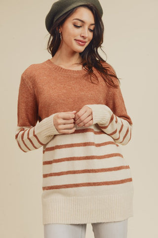 Striped Color-Block Sweater - Rust