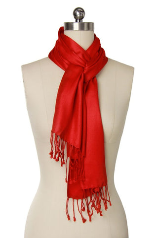 Savea Solid Satin Scarf - Red