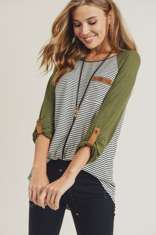 Stripe Raglan Top