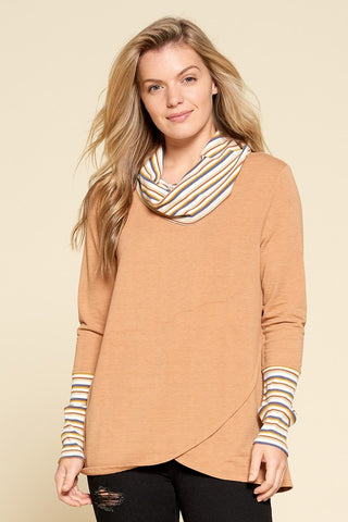 Stripe Cowl Neck Pullover