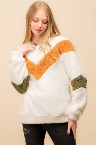 Fuzzy Chevron Color-Block Sweatshirt - Ivory