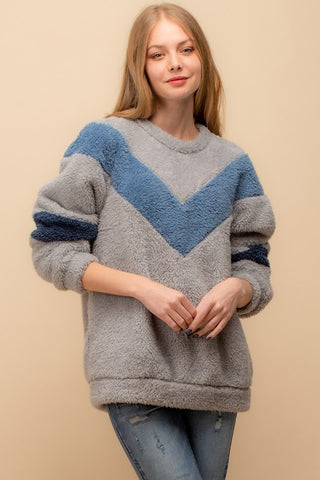 Fuzzy Chevron Color-Block Sweatshirt - Grey