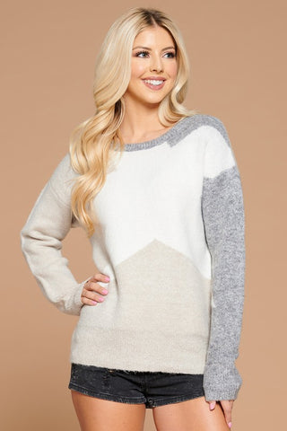 Star Contrast Knit Sweater - Oatmeal