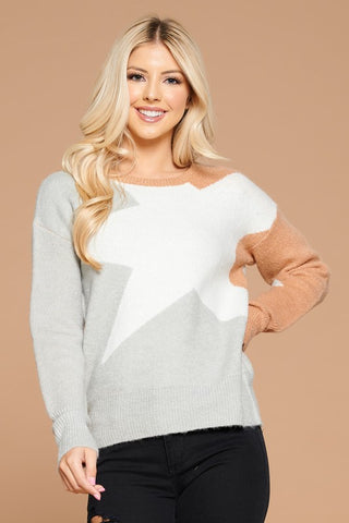 Star Contrast Knit Sweater - Silver
