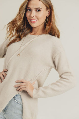 Asymmetric Sweater Top - Ivory