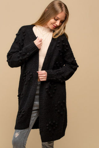 Knit Dot Cardigan - Black