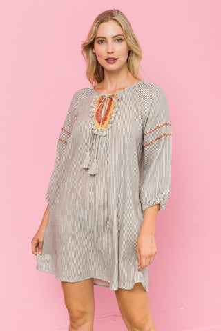 Embroidered Sleeve Pin Stripe Dress