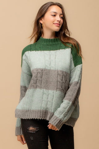 Color-block Fuzzy Knit Sweater