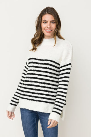 Anabelle Stripe Fuzzy Sweater