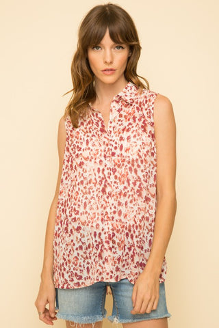 Mix Chiffon Sleeveless Shirt