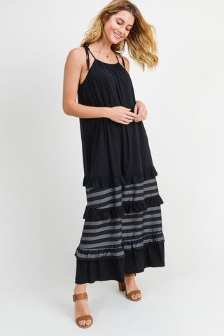 Ruffle and Stripe Panel Maxi Dress