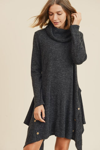 Asymmetrical Hem Cowl Neck Dress - Charcoal