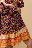 Mixed Print Layered Dress