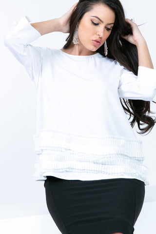 3/4 Sleeve 2 Tier Frill Top