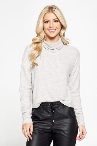 Amira Cashmere-Feel Cowl Neck Sweater - Heather Grey