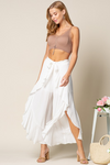 Ruffle Culottes Pants - Off White