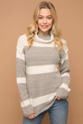 Luci Cashmere-Feel Cowl Neck Sweater