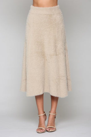 Stephanie Faux Cashmere Skirt - Taupe