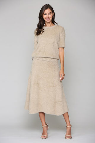 Shannon Faux Cashmere Top - Taupe