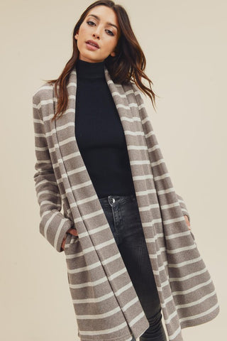 Long-sleeve Brush Stripe Boxy Jacket
