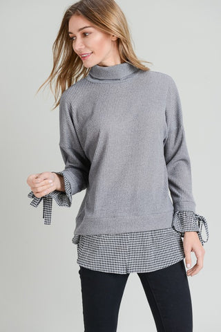 Turtleneck Sweater Top with Layered Sleeve Shirt