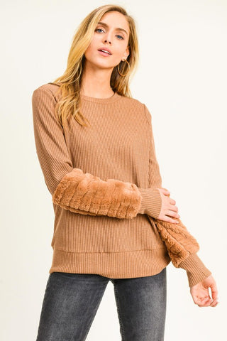 Fur Detail Top - Tan