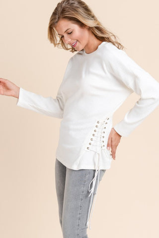 Lace Up Knit Pullover - Ivory
