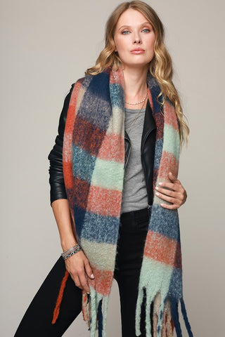 Super Soft Brushed Plaid Oblong Scarf - Mint/Navy