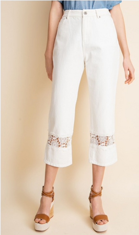 Denim White Fun Pants with Crochet Lace