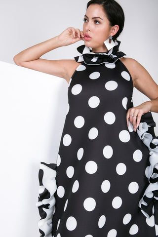Frill Polka-Dot Print Dress