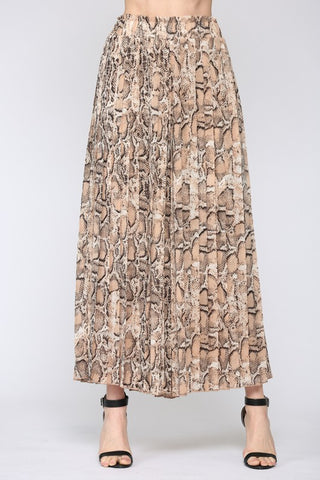 Cindy Animal Print Pleated Wide Leg Pants