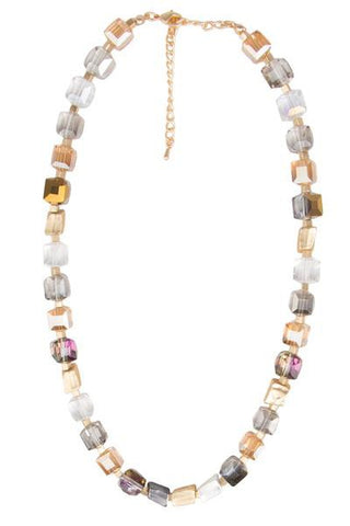 Faceted Bead and Stone Necklace