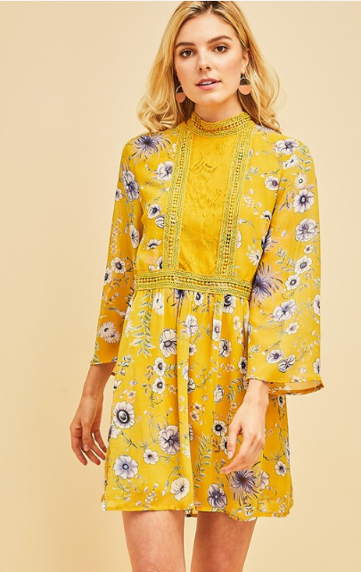 Floral Court Mock Neck Dress