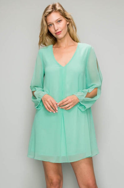 Long Sleeve Cut-out Shift Dress