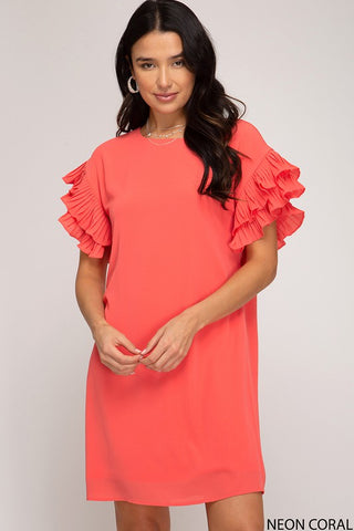 Michelle Pleated Shift Dress