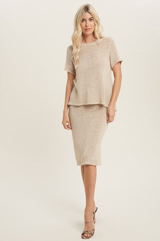 Lima Knit Lounge Skirt Set - Shell
