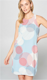 Multi Color Sleeveless Polka-Dot Dress