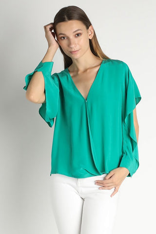 Green Wrap Blouse